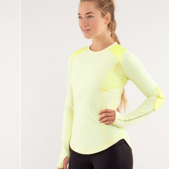lululemon athletica Tops - Lululemon run ice queen yellow striped top
